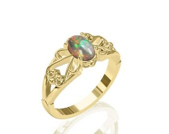 7x5mm reizvolle Solitaire australischen Opal Ring in 14K oder 18K Gold SKU: R2239