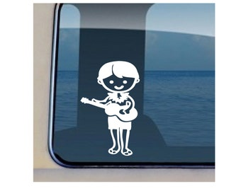 Ukulele Boy Decal Hawaiian Musical Sticker - 475
