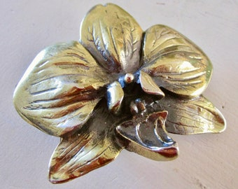 RARE Orchid Vintage Brass Belt Buckle - Flower - Bronze Metal - Etsy Accessories - Floral - Arnold Kiehm Grower - Made in America