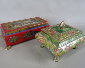 lot of two ornate tin candy boxes England West Germany