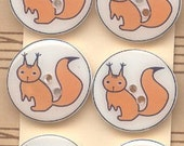 Handmade sewing or scrapbooking buttons-Squirrel-6 buttons