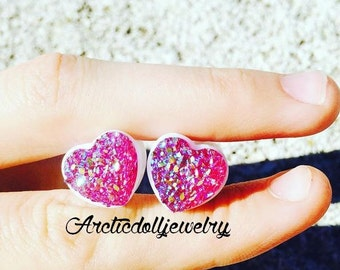 Pair of 12mm shiny heart plugs