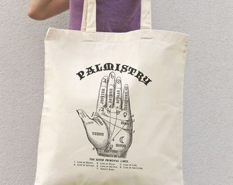 Astrology palm reading tote bag-Palmistry hand guide tote-chiromancy bag-custom tote-shopping bag-tote bag-quote tote-NATURA PICTA NPTB057