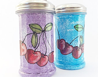 Cheery cherries sugar dispenser painted glass