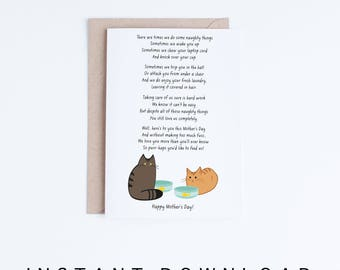 Mothers Day Card Funny Download, Printable Mother's Day Card From the Cats, Brown Tabby and Orange Cat Poem Printable Card, Instant Download