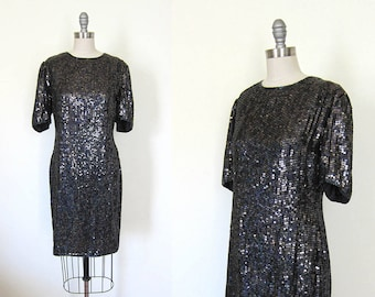1980s vintage black sequin little short sleeve round neck new old stock cocktail dress m
