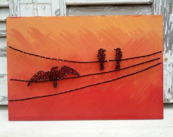 Handmade String Art, Nail Art, Birds On A Wire Sign, Wall Decoration