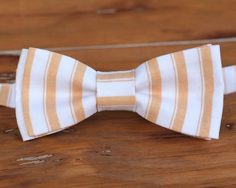 Mens Tan Striped Bow Tie - men's cotton bowtie, bow tie for men and teen boy, wedding bow tie, casual bow tie, cotton mens bow tie, gift tie