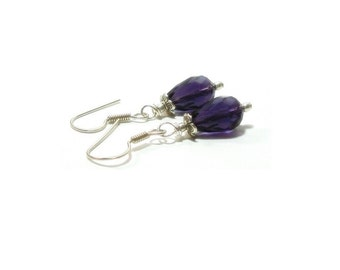 Amethyst Earrings , Sterling Silver Earrings , Faceted Amethyst Gemstones  ,  Genuine Amethyst Gemstones , Gift For her