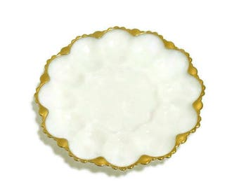 Fire King Milkglass Deviled Egg Plate With Gold Trim | Anchor Hocking Milkglass Deviled Egg Tray