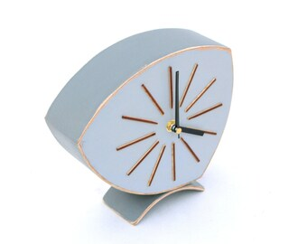 Desk Clock, Grey clock, Wood Clock,  Wooden Clock, Vintage 60s style, Grey Table clock, Gray Chistmas home decor,  sale