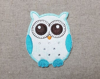 Cubic Jeweled Cute Night Owl Embroidered Patch 2.5 x 3 inch (6.4 x 7.7 cm)