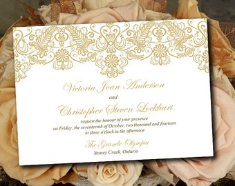 "Printable Wedding Invitation Template - Gold Lace Invitation ""Chantilly"" DIY Wedding Template - Printable Invitation Instant Download"