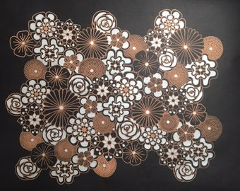 Copper and Silver Floral Drawing