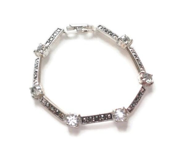Marcasite and Crystal Rhinestone Bracelet Silver Tone Link Bracelet Wedding Special Occasion