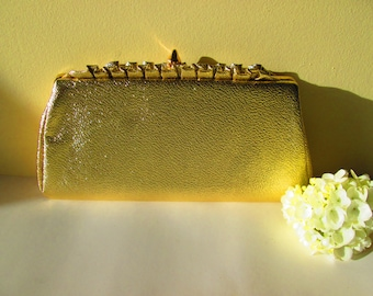 Gold Clutch Purse, Vintage Gold Tone Formal Evening Bag, Women's Accessories, Wedding, Prom
