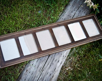 MULTI 6 Opening 5x7 distressed pine collage picture frame with the 5x7's in the portrait position...dark walnut...HANDMADE