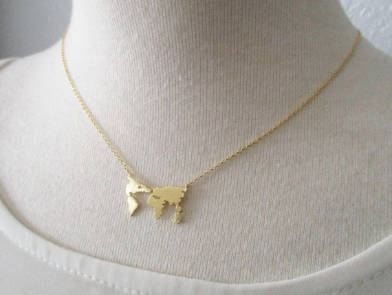 World map necklace globe necklace gold rose gold or silver like this item gumiabroncs Choice Image
