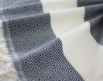 Diamond | Turkish Hand Towel | Peshkir | Black | Tea Towel | Kitchen Towel | Dish Towel | | Kitchen Decor | Natural