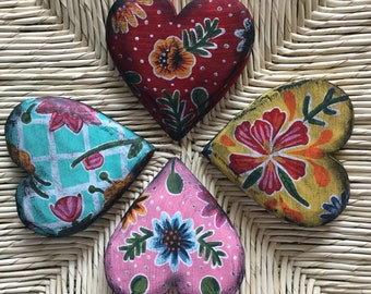 Oil cloth inspired hand painted wooden hearts