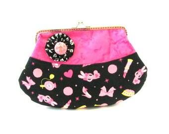 Black pink frame clutch, bunnies on black makeup bag, frame purse, frame pouch, silver purse frame