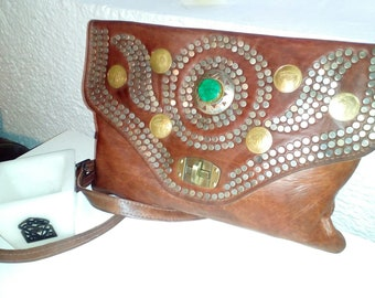Handmade leather clutch or shoulder bag with leather adjustable straps