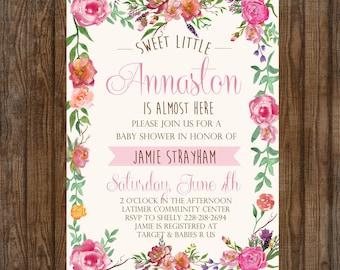 Baby Girl Shower Invitation DIGITAL FILE rustic floral hipster