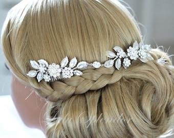 Leaf Hair Vine Wedding Headpiece Silver Bridal Hair Accessory Headband with Swarovski Crystal Bridal Hair Comb LAYNE