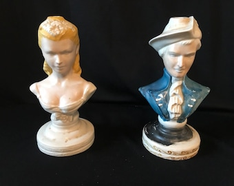 Pair of Vintage European Boy and Girl Bust Ceramic Lamps