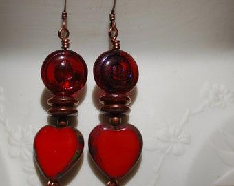 Dancing Hearts Copper Earrings...item number 552