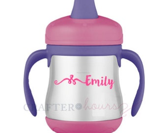 """Sippy Cup and Water Bottle Name Decals - 1/2"""" tall (best for sippy cups)"""