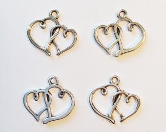 5 double hearts charms intertwined- SCH124