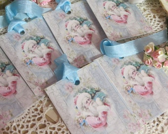 Victorian Pink and Aqua  Christmas Tags-with vintage Seam Binding Ties-Set of 6-ATC
