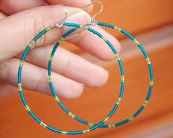 Ethnic hoop earrings, Dangle earrings, Tribal thin hoops, Native american, Bohemian jewelry, Beaded indian hoops, Teal hippie, Nomad spirit