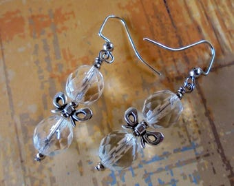 Clear Crystal Earrings with Silver Bows (3931)
