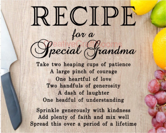 Grandma's Kitchen glass cutting board, Recipe for a Special Grandma cutting board, Grandma's chopping board, kitchen cutting board