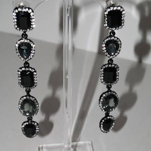 Crystal Chandelier Black and Dirty Diamond earrings