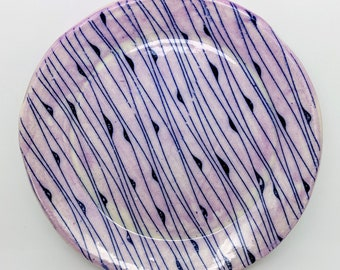 Pink and Blue Lined Trinket Plate