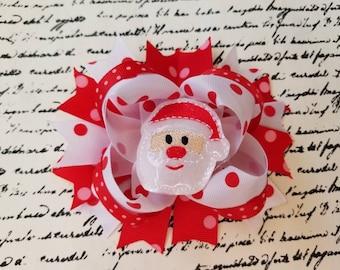 Light up santa christmas bow, Gift bow hair clip, Christmas bow, Christmas