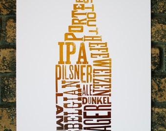 Beer Types Letterpress Print
