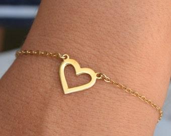 Bracciale in oro, Bracciale cuore, bracciale, Bracciale in oro pieno, sipmle bracciale, bracciale amore, frienship, minimalista gioielli A122