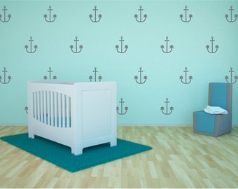 Gray Anchors Vinyl Wall Stickers Nursery Decal Pattern