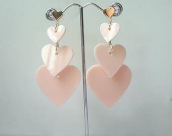 Pink  Earrings Stud Earrings Delicate Earrings Heart Earrings 0473