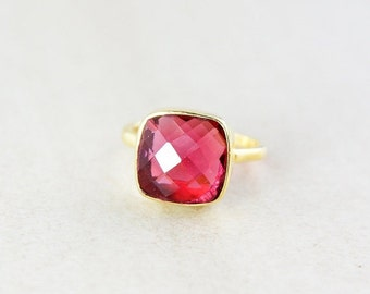 Gold Red Ruby Quartz Gemstone Ring - Stackable Ring - Cushion Cut