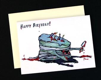Zombie Cake Birthday Card