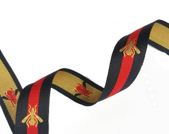 Black Red Striped Ribbon Trim with Bee, Grosgrain embroidered Ribbon Trim, Choker  Ribbon Trim -