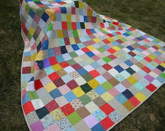Homemade quilt, colorful patchwork farmhouse bedding, custom made cotton blanket 93 X 93 queen size covering, unique gift for housewarming