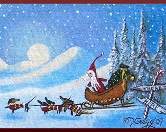 A Difference Of Opinion A tiny Dachshund Santa Christmas Print by Deborah Gregg