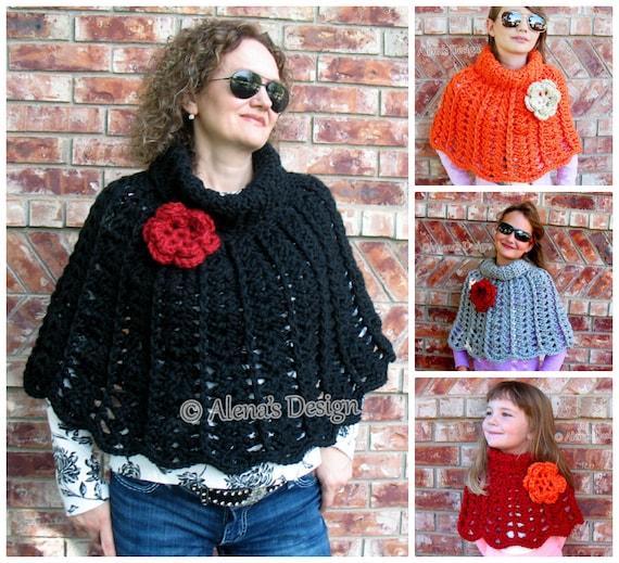 Crochet Pattern 111 Chic Rose Poncho Wrap Cowl Neck Warmer Child 4, 6, 8, 10, 12  Adult Women S/M, L/XL, 2XL/3XL Crochet Patterns Christmas