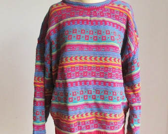 Vintage 80s Vivid Patterned Oversize Sweater - Size L
